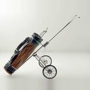 Zierfigur Golfwagen, Golftrolley mit Tasche in echt Sterling-Silber 925 und Leder