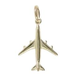 Anhänger Flugzeug in echt Sterling-Silber oder Gold, Charm, Ketten- oder Bettelarmband-Anhänger
