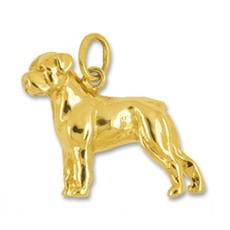 Anhänger Rottweiler, Hund in echt Gelbgold 375, 585 oder 750, Charm, Ketten- oder Bettelarmband-Anhänger