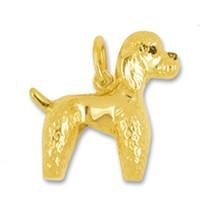 Anhänger Pudel, Hund stehend in echt Gelbgold 375, 585 oder 750, Charm, Ketten- oder Bettelarmband-Anhänger