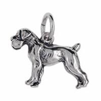 Anhänger Boxer, Hund in echt Sterling-Silber 925 oder Gold, Charm, Ketten- oder Bettelarmband-Anhänger