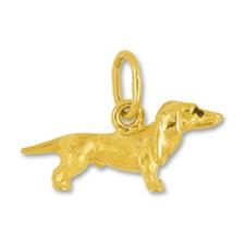 Anhänger Kurzhaardackel, Hund in echt Sterling-Silber 925 oder Gelbgold, Oberfläche mattiert, Charm, Ketten- oder Bettelarmband-Anhänger