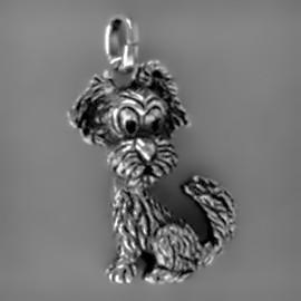 Anhänger Hund in echt Sterling-Silber 925 oder Gold, Ketten- oder Schlüssel-Anhänger