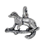 Anhänger Marder, Iltis, Nerz, Otter, Wiesel in echt Sterling-Silber 925 oder Gold, Ketten- oder Schlüssel-Anhänger
