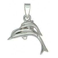 Anhänger Delfinpärchen, Delphinpärchen in echt Sterling-Silber 925, Charm, Kettenanhänger oder Bettelarmband-Anhänger