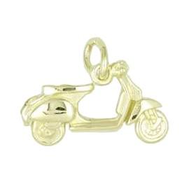 Anhänger Motorroller in echt Sterling-Silber 925 und Gold, Ketten- oder Bettelarmband-Anhänger