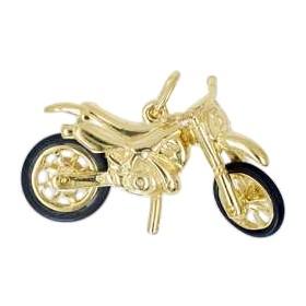 Anhänger Suzuki Enduro Trail-Motorrad in echt Sterling-Silber 925 und Gold, Ketten- oder Schlüssel-Anhänger