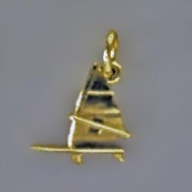 Anhänger Surfbrett mit Segel in echt Sterling-Silber 925 oder Gold, Charm, Ketten- oder Bettelarmband-Anhänger