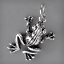 Anhänger Frosch in echt Sterling-Silber oder Gold, Charm, Ketten- oder Bettelarmband-Anhänger