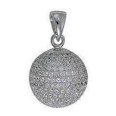 Anhänger Boule, Pétanque Kugel in echt Sterling-Silber 925 rhodiniert mit Cubic Zirkonia-Steinen, Kettenanhänger