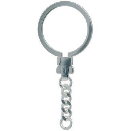 Schlüsselring Omega-Verschluss mit Panzerkette, Schlüsselmechanik in Silber 925/000 für Anhänger