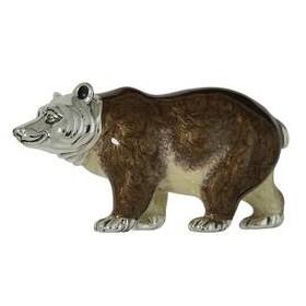 Zierfigur Bär in echt Sterling-Silber 925 emailliert, Standmodell