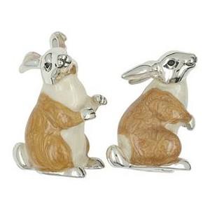 Zierfigur Hasenpaar in echt Sterling-Silber 925 emailliert, Standmodell