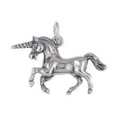 Anhänger Einhorn in echt Sterling-Silber oder Gelbgold, Charm, Kettenanhänger oder Bettelarmband-Anhänger