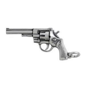 Anhänger Revolver, Handfeuerwaffe in echt Sterling-Silber 925 und Gold, Ketten- oder Schlüssel-Anhänger