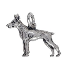 Anhänger Dobermann, Hund in echt Sterling-Silber 925 oder Gold, Ketten- oder Schlüssel-Anhänger