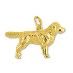 Anhänger Golden Retriever, Hund in echt Sterling-Silber oder Gold, Charm, Ketten- oder Bettelarmband-Anhänger