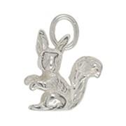 Anhänger Eichhörnchen in echt Sterling-Silber 925 weiß oder Gelbgold 333, 585 oder 750, Charm, Kettenanhänger oder Bettelarmband-Anhänger