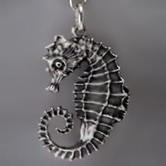 Anhänger Seepferdchen in echt Sterling-Silber oder Gold, Kettenanhänger oder Schlüssel-Anhänger