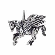 Anhänger Pegasus, Pegasos in echt Sterling-Silber 925 oder Gelbgold, Charm, Ketten- oder Bettelarmband-Anhänger