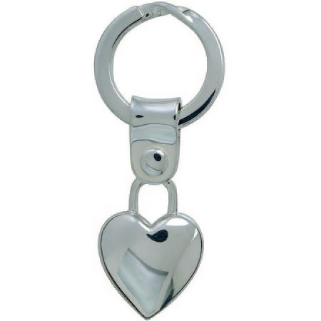 Herz mit Spaltring, Schlüsselring, Schlüsselmechanik in echt Silber 925 für Anhänger.