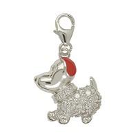 Anhänger Hund in echt Sterling-Silber 925 mit Zirkonia rot teillackiert, Charm mit Karabiner, hochwertiger Ketten- oder Bettelarmband-Ein-/Anhänger