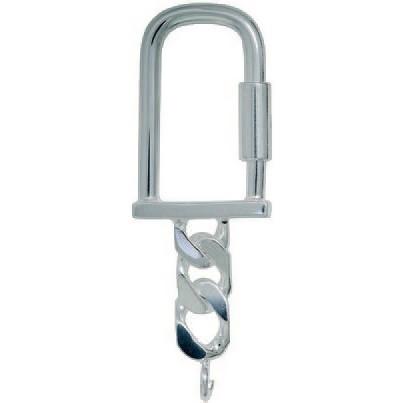 Schlüsselring mit Drehverschluss & Panzerkette, Schlüsselmechanik in Sterling-Silber 925/000 für Anhänger