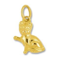 Anhänger Katze in echt Gelbgold 375, 585 oder 750, Charm, Ketten- oder Bettelarmband-Anhänger