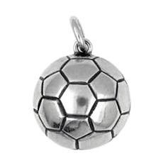 Anhänger Fussball, Charms in Silber & Gold