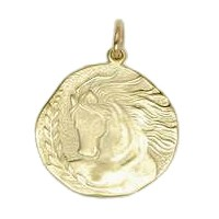 Anhänger Pferdekopf, Plakette in echt Sterling-Silber 925 oder Gold, Ketten- oder Schlüssel-Anhänger