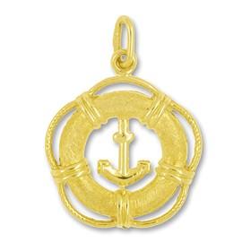 Anhänger Rettungsring mit Anker in echt Gold, Charm, Ketten- oder Bettelarmband-Anhänger