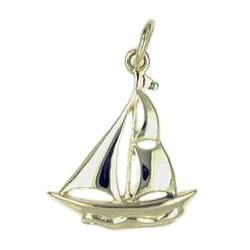 Anhänger Segelschiff in echt Sterling-Silber 925 und Gold, Ketten- oder Schlüssel-Anhänger
