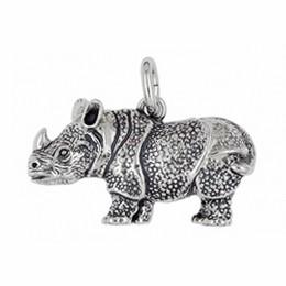 Anhänger Nashorn, Rhinozeros in echt Sterling-Silber 925 oder Gold, Ketten- oder Schlüssel-Anhänger