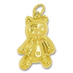 Anhänger Teddybär in echt Gelbgold, Charm, Ketten- oder Bettelarmband-Anhänger