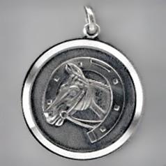 Anhänger Pferdekopf mit Hufeisen, Plakette in echt Sterling-Silber 925 oder Gold, Ketten- oder Schlüssel-Anhänger