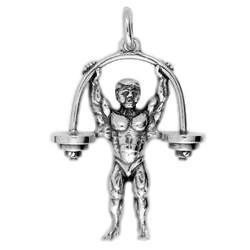 Anhänger Gewichtheber, Bodybuilder mit Hantel  in echt Sterling-Silber 925 oder Gold, Ketten- oder Schlüssel-Anhänger