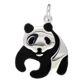 Schlüsselanhänger oder Kettenanhänger Pandabär in echt Sterling-Silber oder Gold