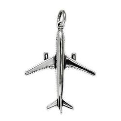 Anhänger Flugzeug Airbus in echt Sterling-Silber 925 oder Gold, Ketten- oder Schlüssel-Anhänger