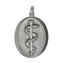 Anhänger Äskulapstab, Asklepiosstab, Schlange in echt Sterling-Silber 925 oder Gold, Ketten- oder Schlüssel-Anhänger