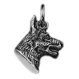 Anhänger Deutscher Schäferhundkopf in echt Sterling-Silber 925 oder Gold, Charm, Ketten- oder Bettelarmband-Anhänger