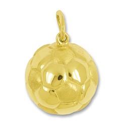 Anhänger Fussball in echt Gelbgold 375, 585 oder 750, Charm, Ketten- oder Bettelarmband-Anhänger