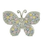 Kettenanhänger oder Brosche Schmetterling, Falter in echt Weißgold 585 mit Diamant und Safiren